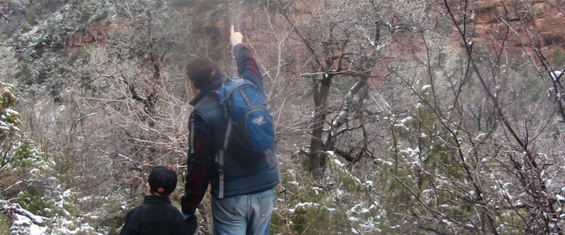 Telling stories while hiking